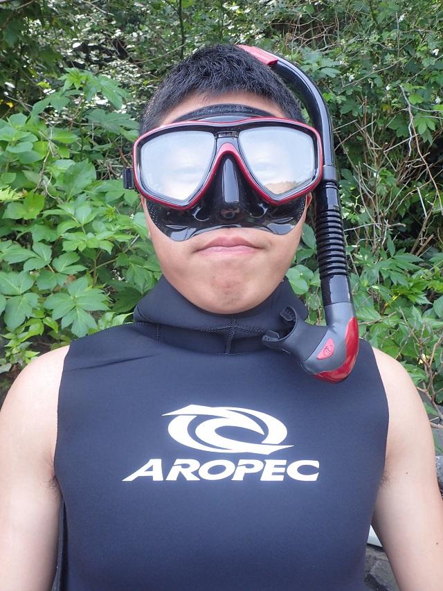 お店でマスク、スノーケルを即購入 自前のマスクで初めてのダイビング