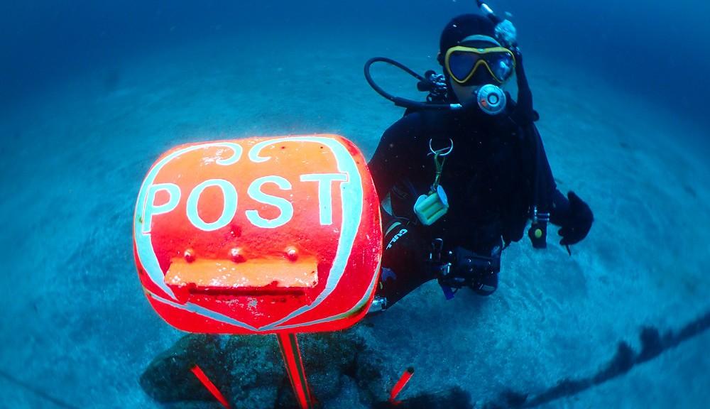 水深20mに設置してある水中ポスト