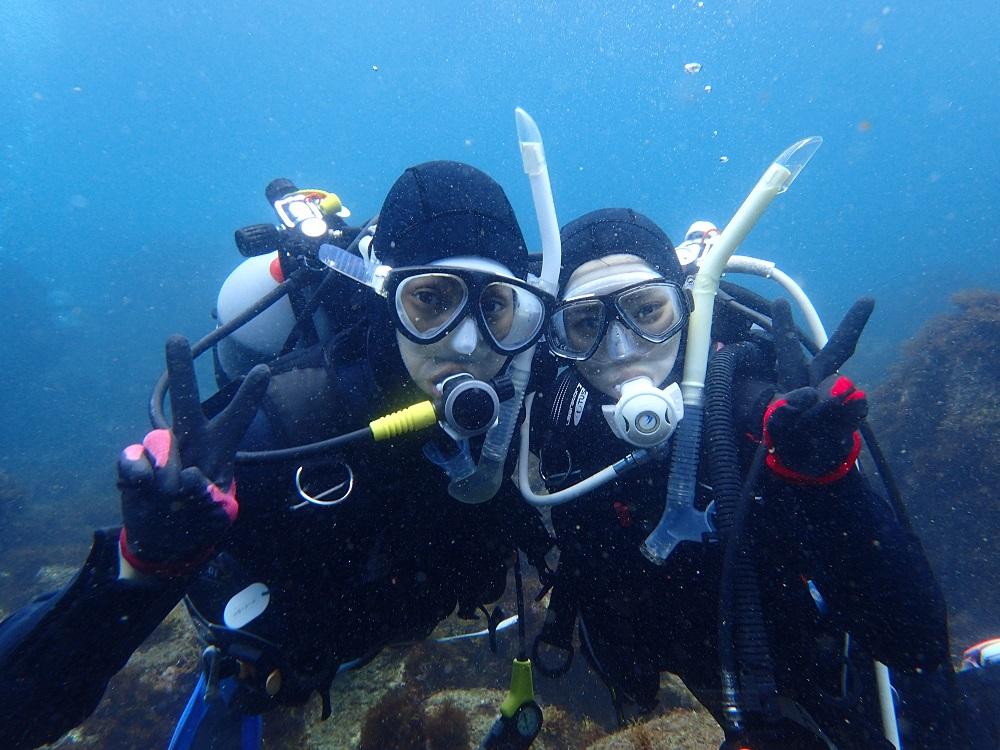 初ダイビング・SIさん、Kさんカップル