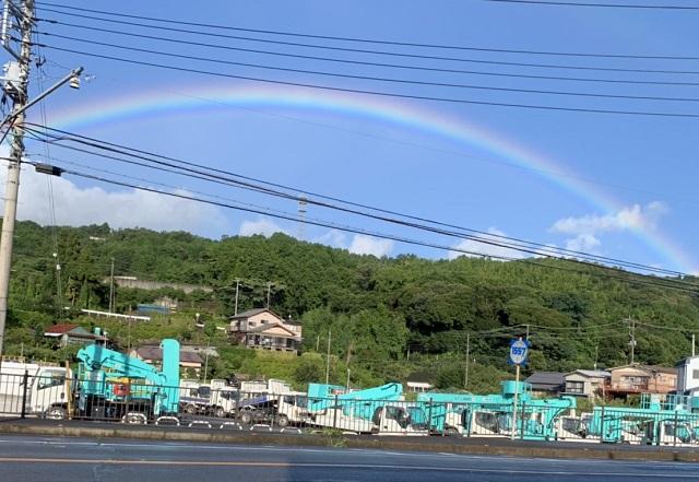 鮮やかなアーチの虹