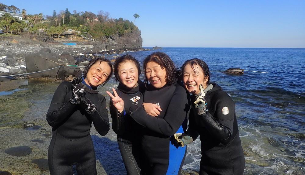 祝、初ダイビング、同期入社の4名様