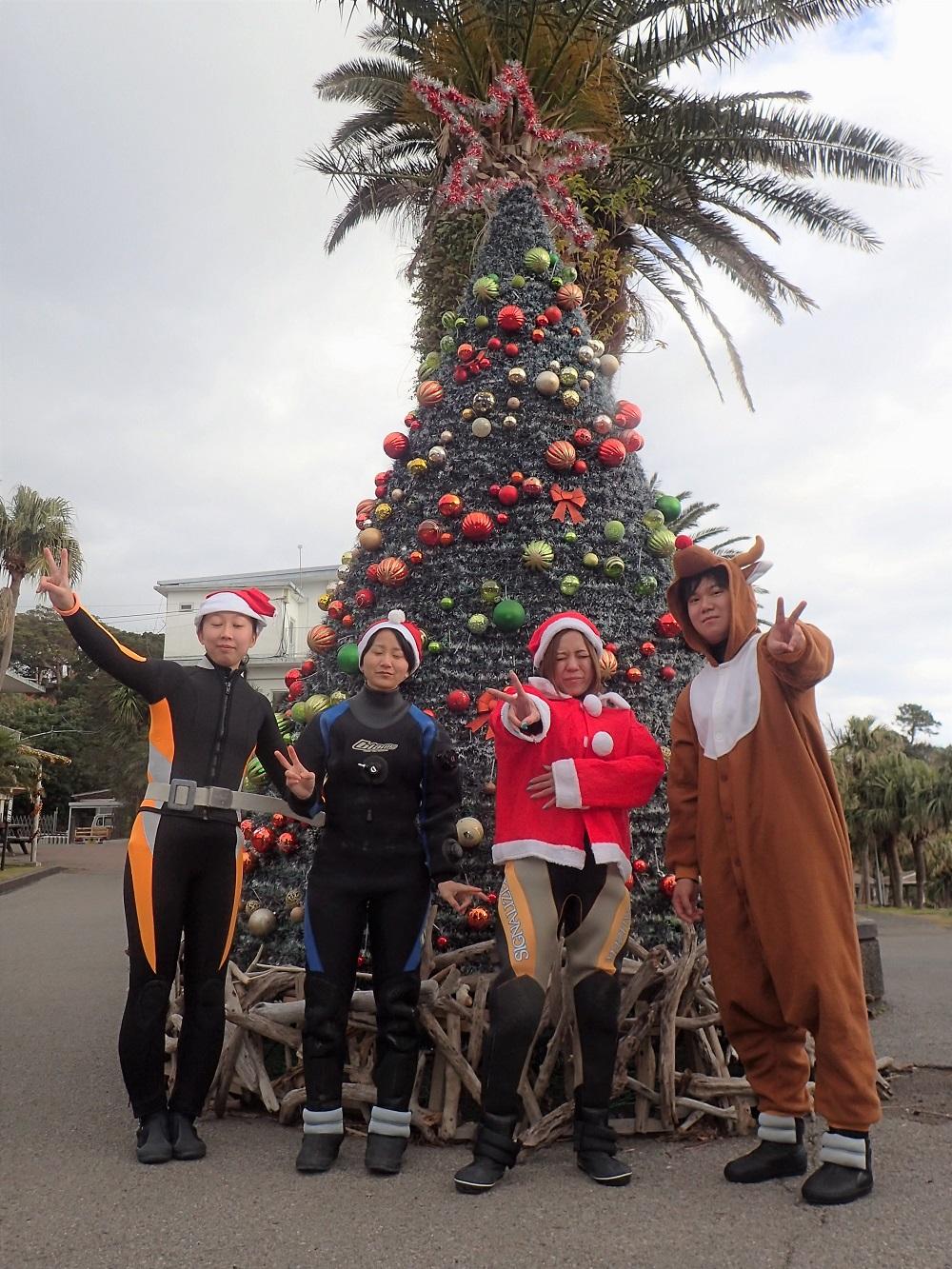 伊豆海洋公園クリスマスツリーの前で記念撮影